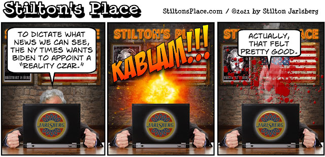 stilton's place, stilton, political, humor, conservative, cartoons, jokes, hope n' change, biden, reality czar, new york times, AOC, alice in wonderland