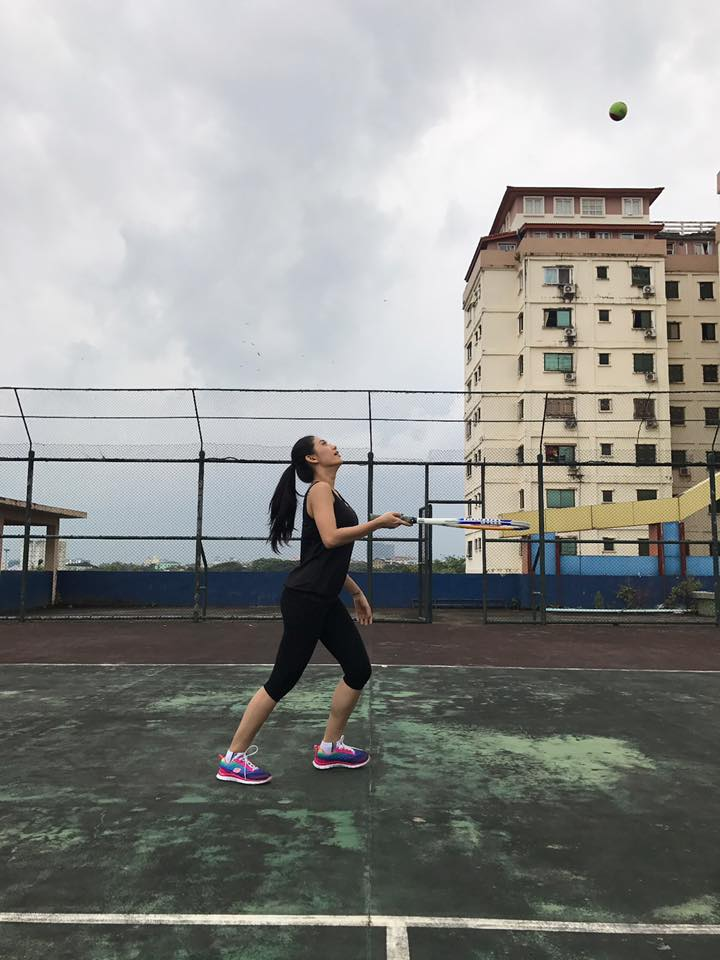 Thinzar Wint Kyaw In All Black Fashion Playing Tennis For Fun