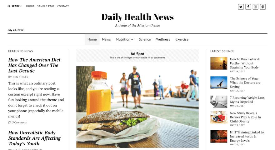 Pratinjau Mission News WordPress Theme Terbaru