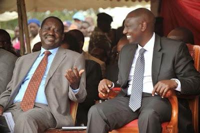 ODM leader Raila Odinga with Deputy President William Ruto. PHOTO | BMS