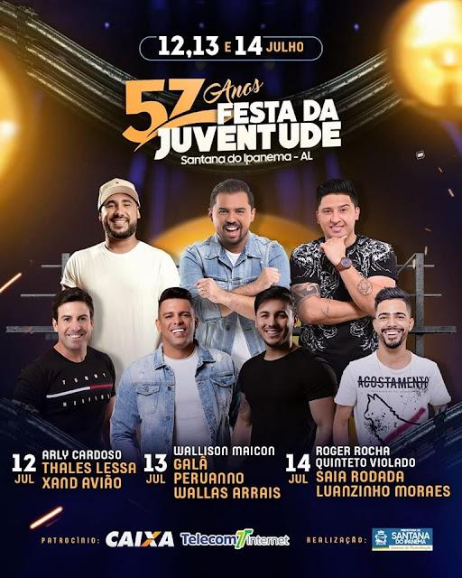 Walisson Maicon, Peruanno, Galã do Brega e Wallas Arrais abrem a segunda  noite de shows na 57ª Festa da Juventude em Santana do Ipanema