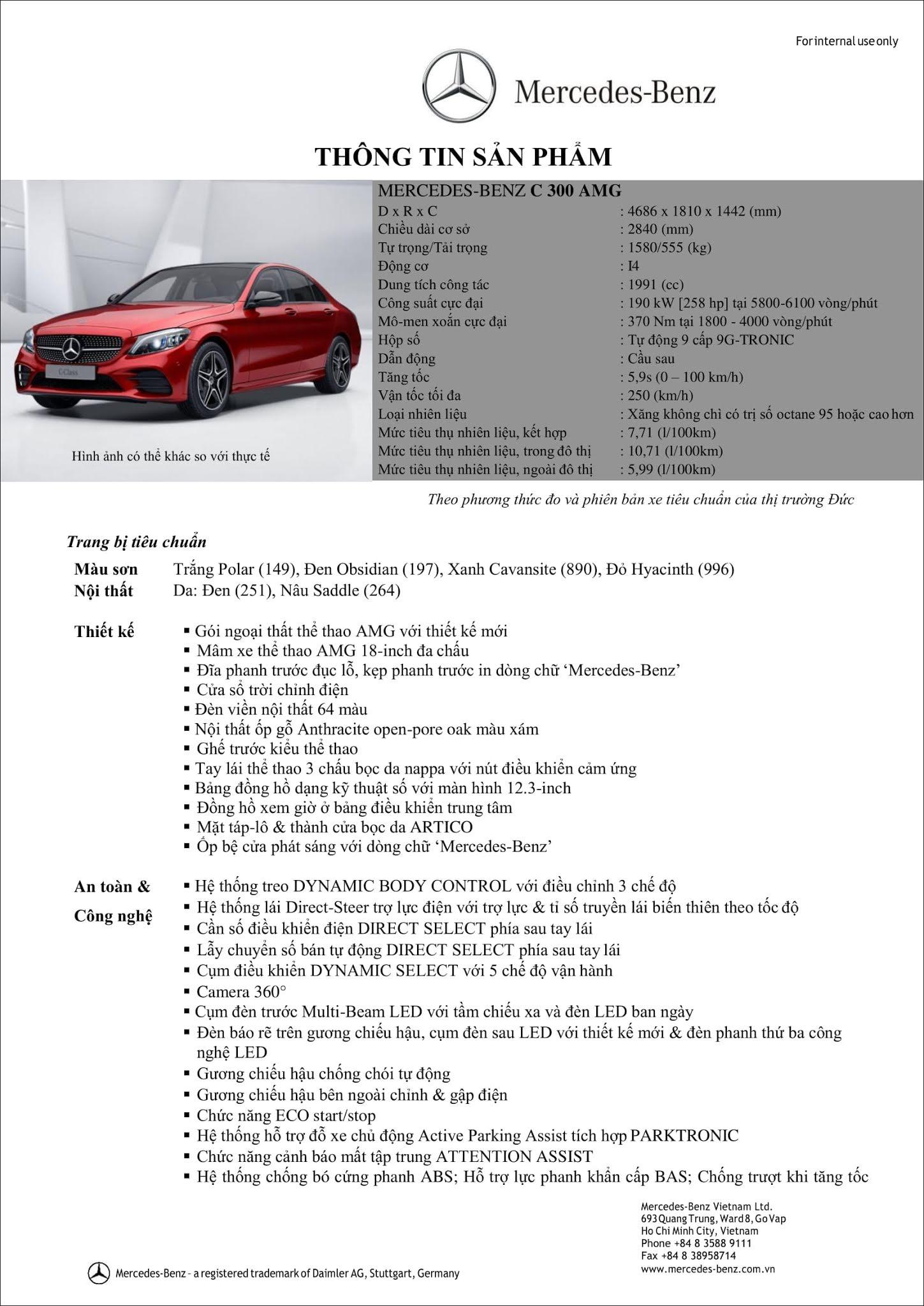 Bảng thông số kỹ thuật Mercedes C300 AMG 2019