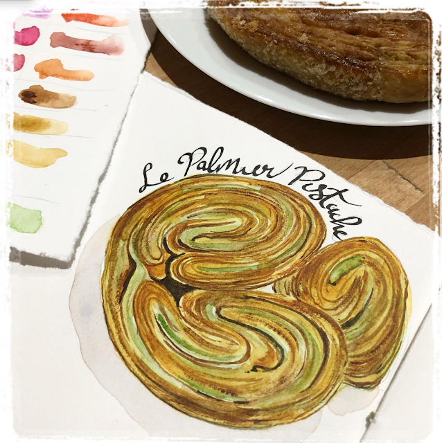 Sketching pastries- Palmier de Pistache Galia Alena