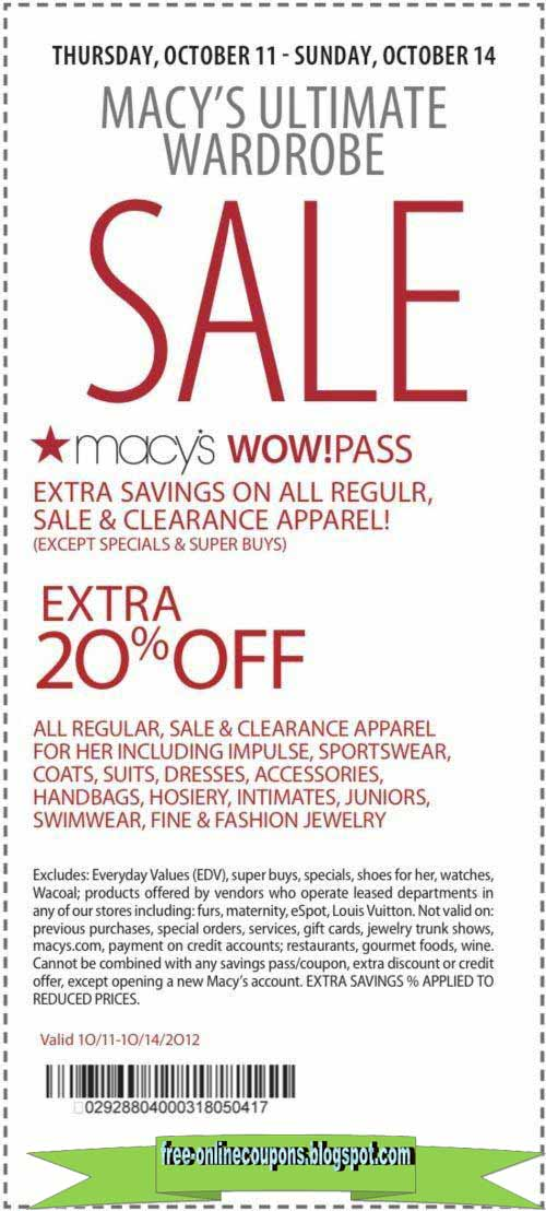 Oct 05,  · 10% Macy's Visitor's Coupon Printable & Mobile: Domestic Visitors may present this savings pass for a 10% discount on thousands of items throughout the store. Note: If you are an international buyer use this pass with an ID. Mike on May 8, at pm/5().
