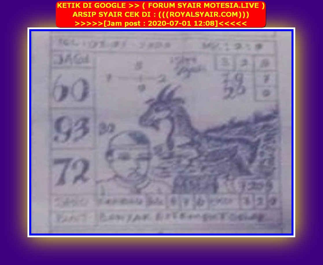 Kode syair Singapore Rabu 1 Juli 2020 19