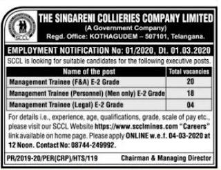Singareni Collieries Company Ltd SCCL MT Recruitment 2020 42 Management Trainee Govt Jobs Online Notification