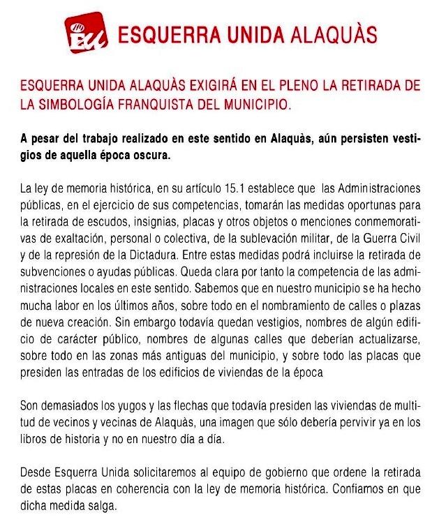 Eu alaqu s exigira en el proximo pleno la retirada de la simbologia franquista del municipio - Trabajo en alaquas ...