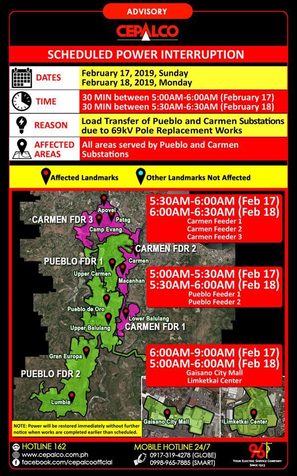 CEPALCO Scheduled Power Interruption on Sunday, February 17-18, 2019 Pueblo and Carmen Substation Area