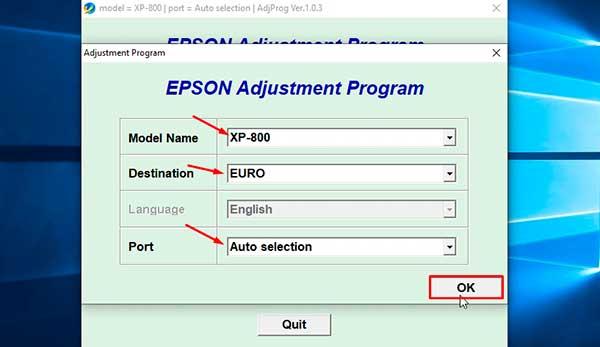 Reset Epson XP-800