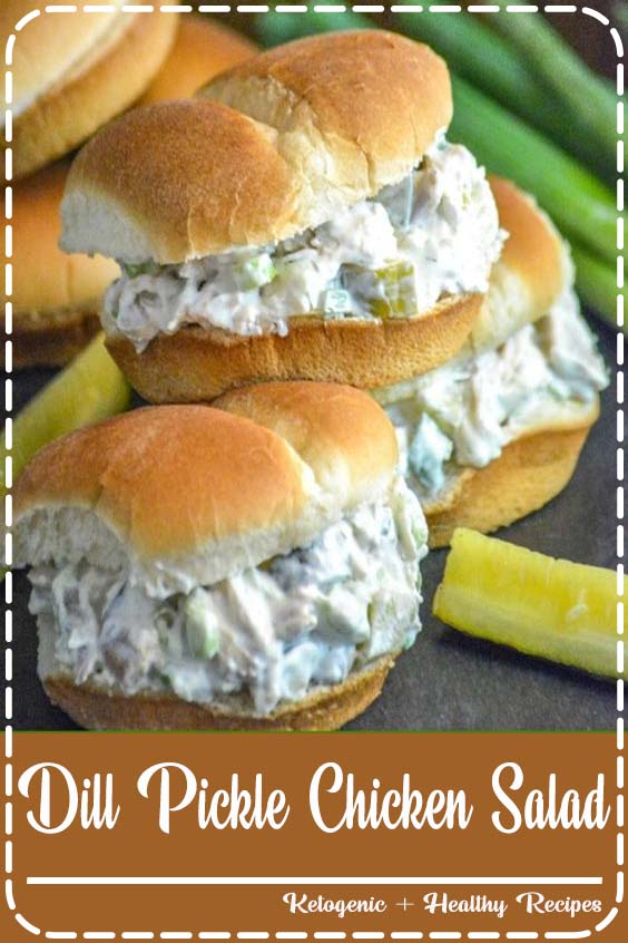 and the sauce has real pickle juice stirred right on in Dill Pickle Chicken Salad