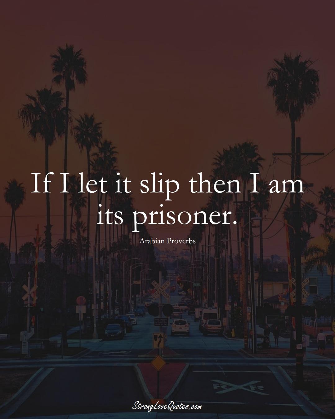 If I let it slip then I am its prisoner. (Arabian Sayings);  #aVarietyofCulturesSayings