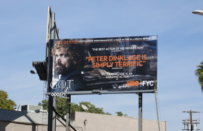Peter Dinklage Game of Thrones SAG Awards billboard