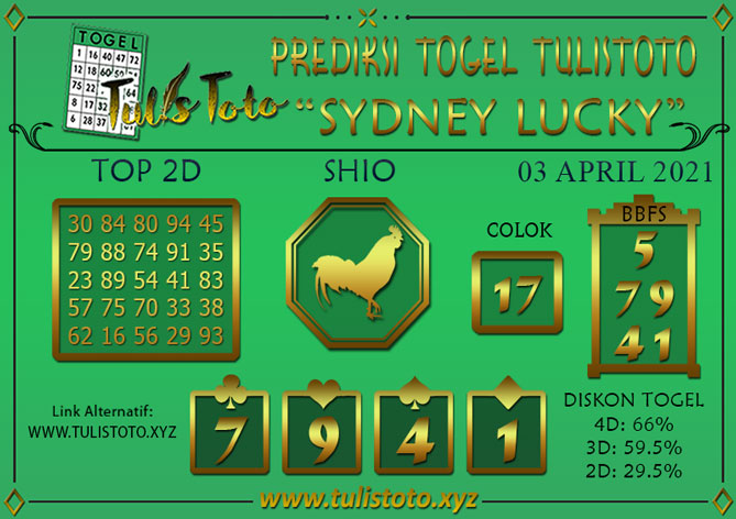 Prediksi Togel SYDNEY LUCKY TODAY TULISTOTO 03 APRIL 2021