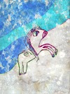 Unicorn up the snow free drawing by Alex