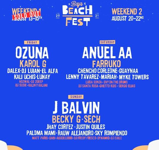Baja Beach Fest 2021 Line Up