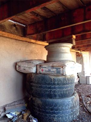 Reprises de fondation à base de pneus et de ciment...