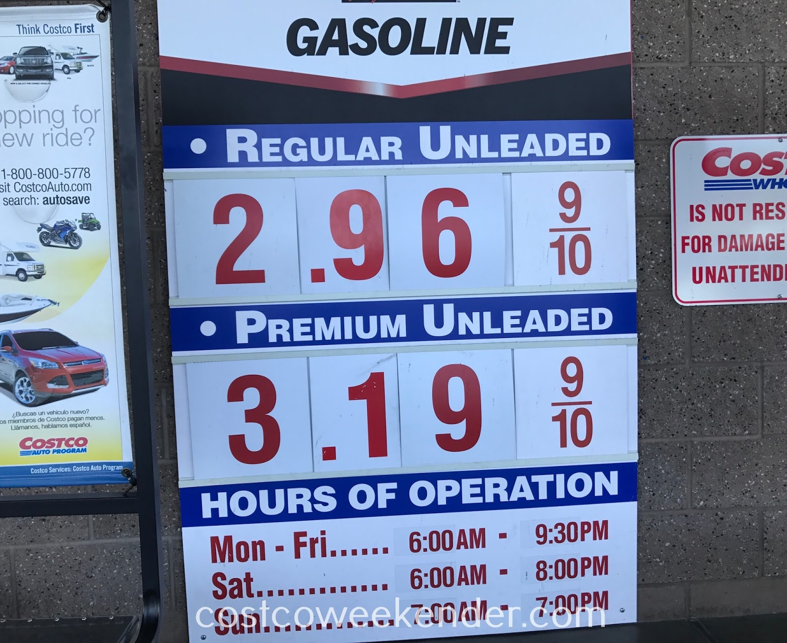 Costco gas for November 5, 2017 at Redwood City, CA