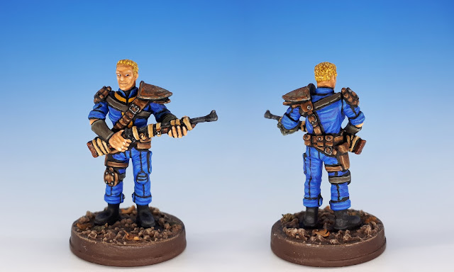 Painted miniature of the Vault Dweller, Fallout Board Game