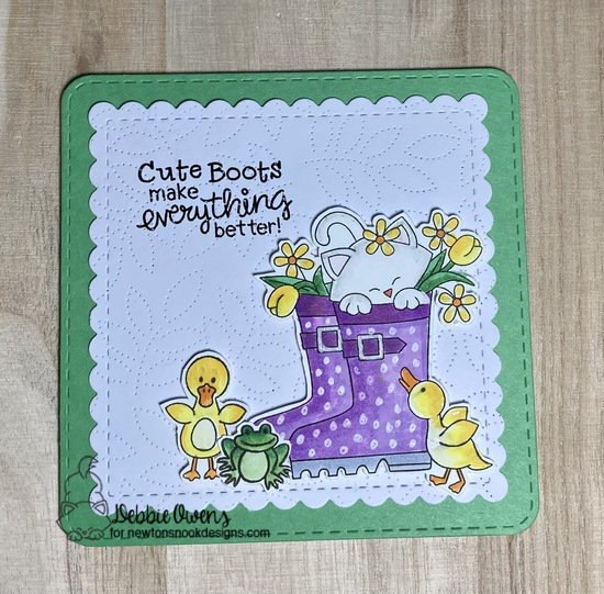 Cute boots make everything better by Debbie features Newton's Rain Boots and Frames Squared by Newton's Nook Designs; #newtonsnook, #cardmaking, #springcards, #catcards