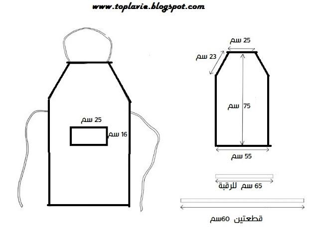 شرح طريقة خياطة مئزر مطبخ - لوازم المطبخ