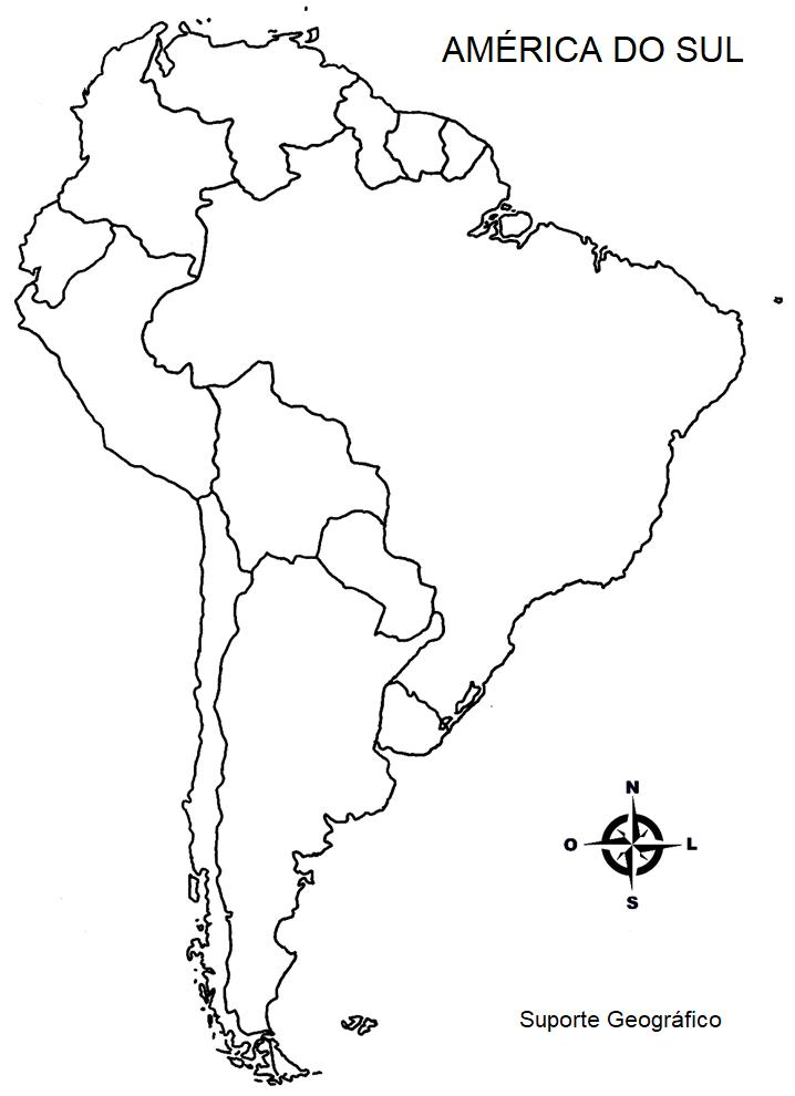 Mapa Mudo De America.Mapa Mudo Da America Do Sul Suporte Geografico