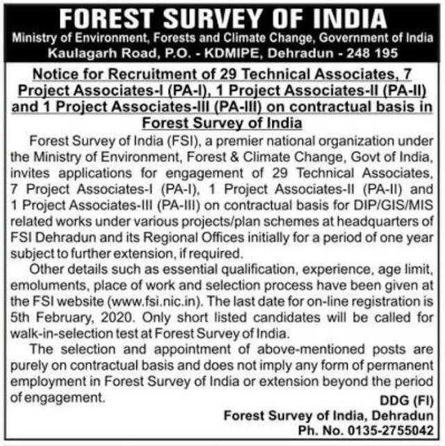 Forest survey of india,Dehradun-39 post