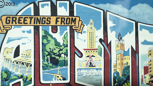 "South Austin's ""Greetings from Austin"" postcard mural"