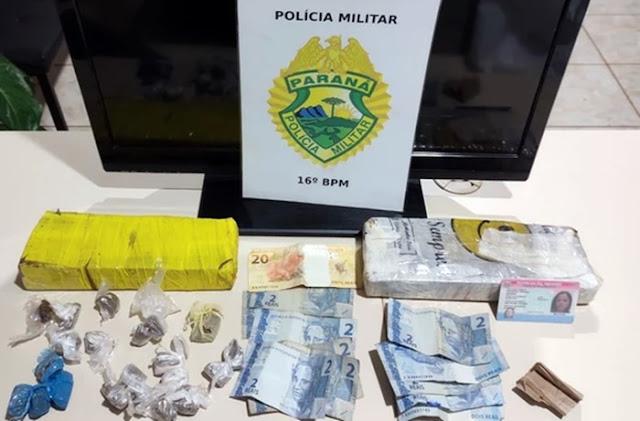 Manoel Ribas: PM apreende drogas, dinheiro e prende acusados de tráfico de drogas