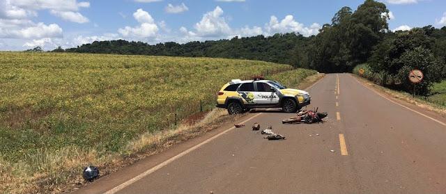 Nova Cantu: motociclista fica gravemente ferido em acidente
