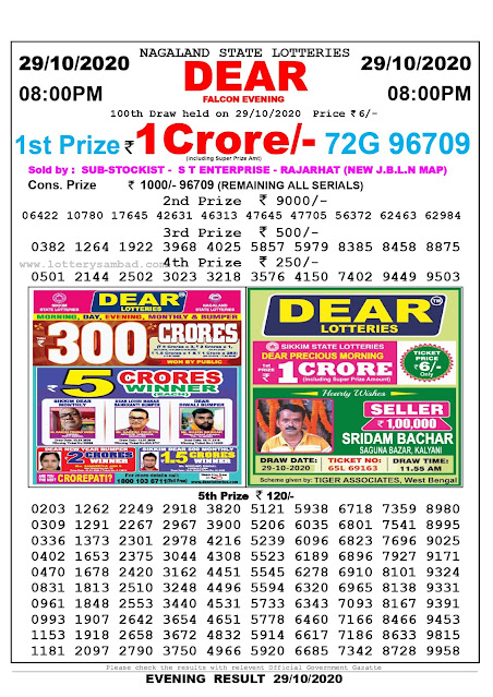 Lottery Sambad 29-10-2020, Lottery Sambad 8 pm results, Nagaland Lottery Results, Lottery Sambad Today Results Live, Night results