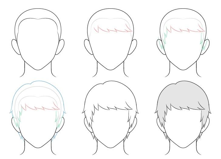 Anime menyisir gambar rambut pria selangkah demi selangkah