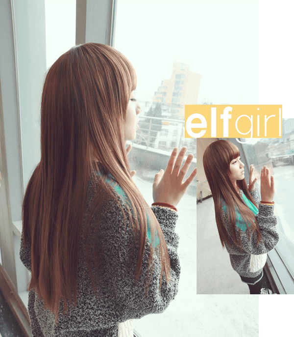 Korean Fashion Beauty Wig - Elf Girl Color Brown Model 2