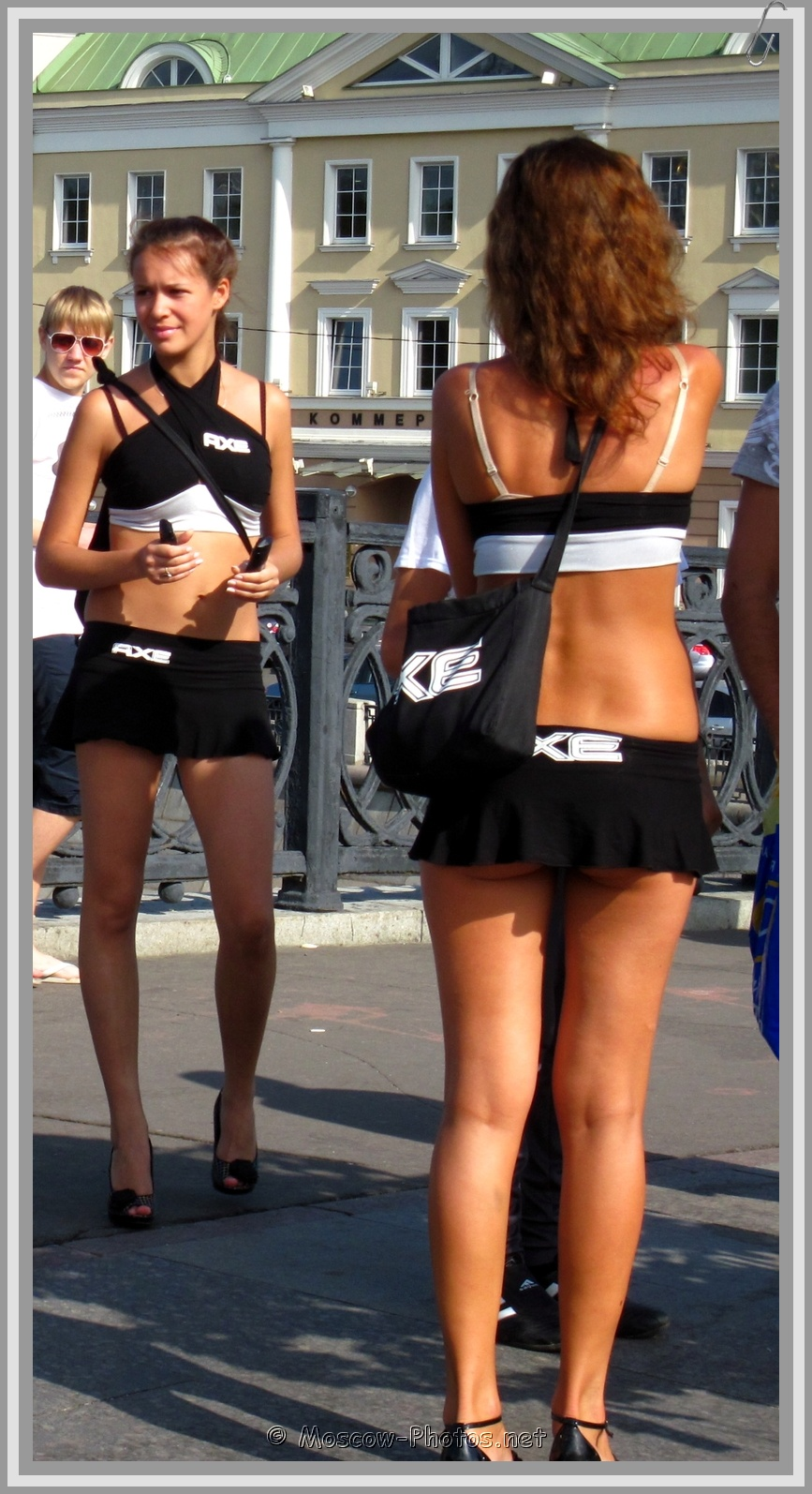 AXE girls in black micro skirts