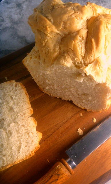 Simple French Bread for the Bread Machine: Crusty on the outside with a soft and tender airy crumb on the inside. Hot from the bread machine this bread is hard to beat!  - Slice of Southern