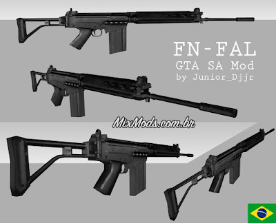 gta sa mod arma brasileira fn fal 762 lowpoly 3d
