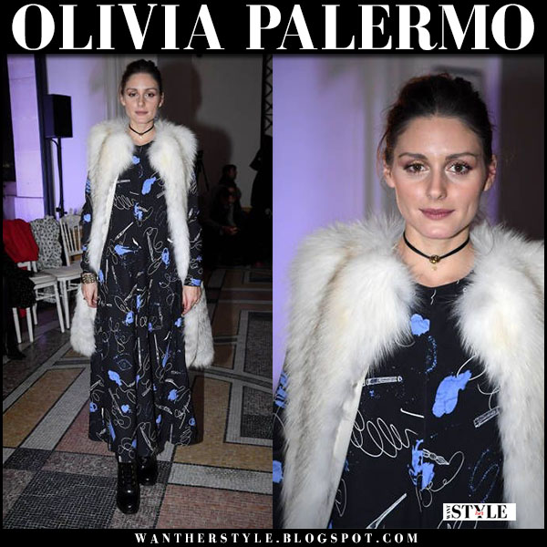 Olivia Palermo in fur vest, maxi dress and lace up ankle boots prada fashion week outfit january 22