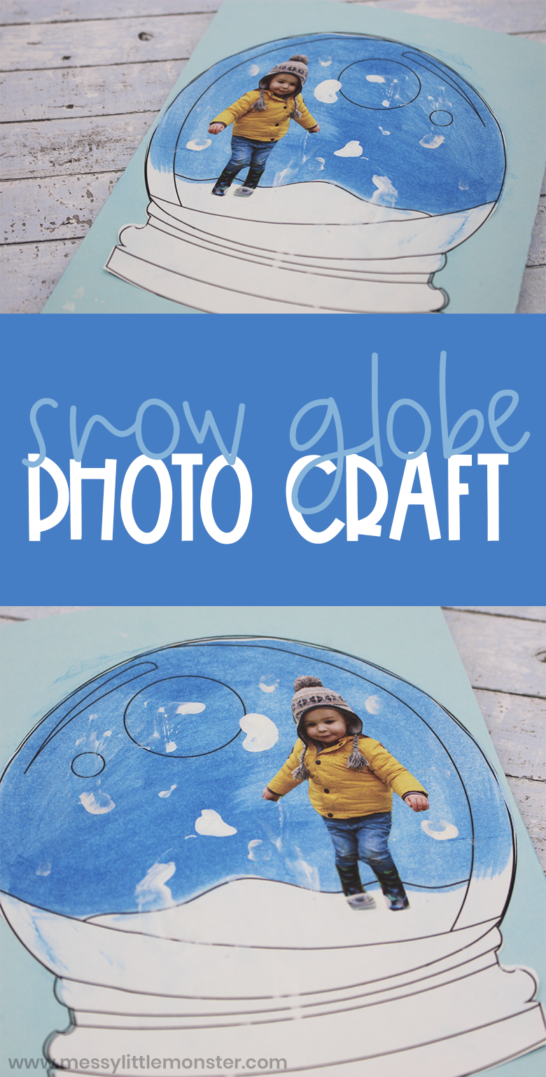 Printable snow globe template for snow globe craft. Winter art project for kids, toddlers and preschoolers.