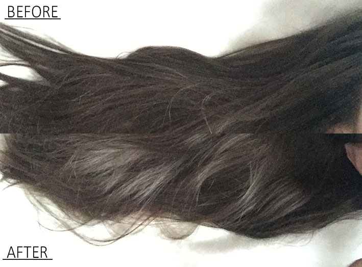 Before and after of silk drops in hair.