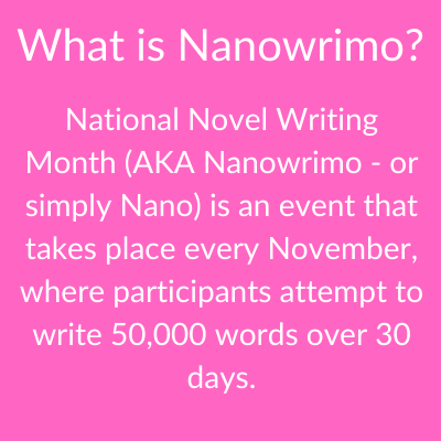Nanowrimo is an annual event that takes place every November where writers aim to write 50,000 words in 30 days