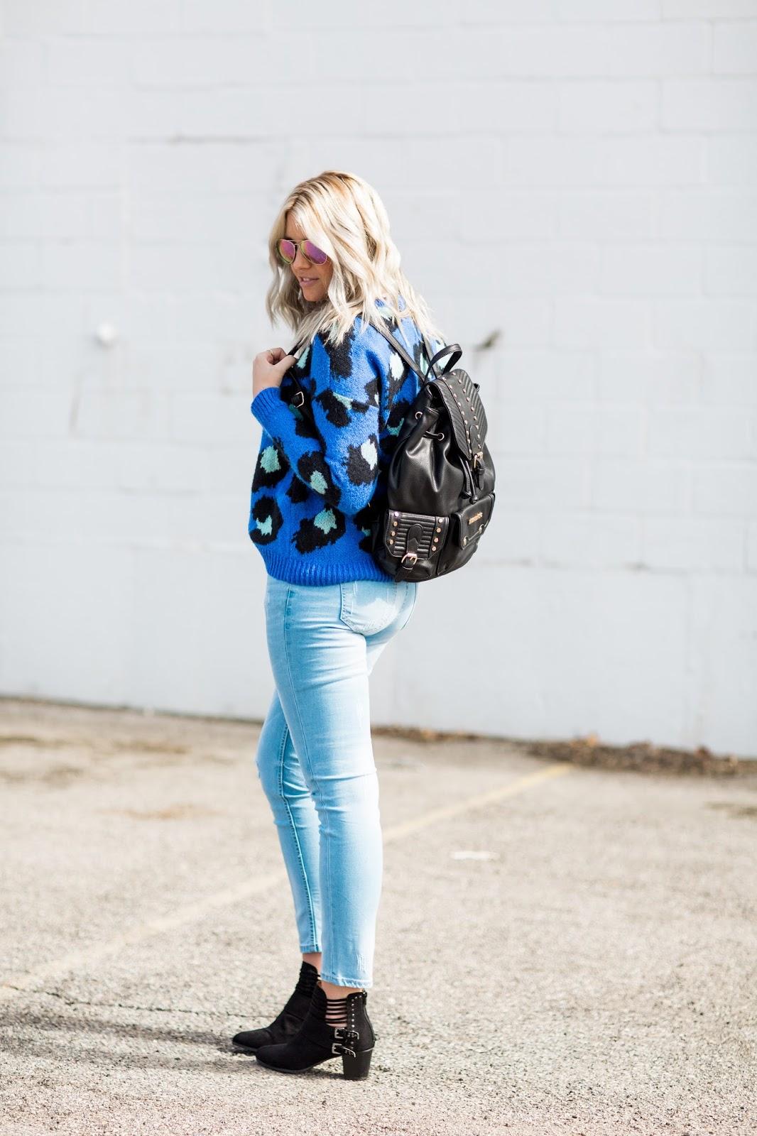 thredUP, Modest Fashion Blogger, Blue Leopard Sweater