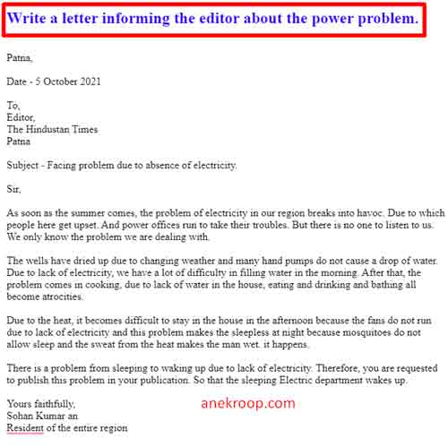 Write a letter informing the editor about the power problem.