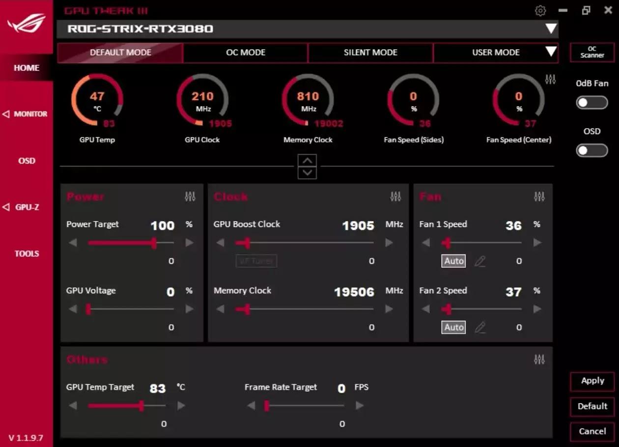 ASUS GPU Tweak III Overclocking