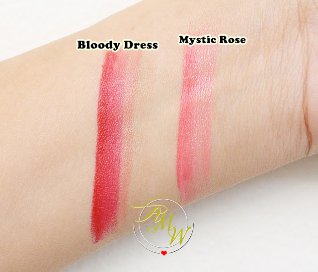 a swatch photo of Laneige Two Tone Lip Bars from Milky Way Collection in Bloody Dress and Mystic Rose review