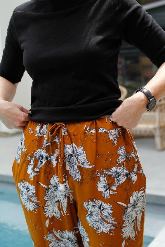 wide leg mustard floral pants