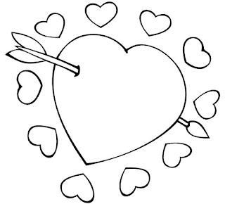 דף צביעה חץ בלב
