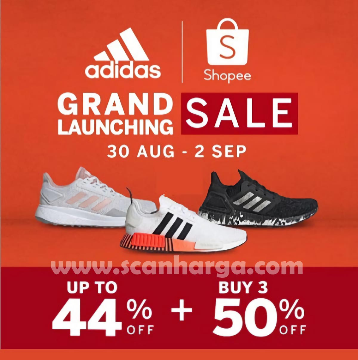 Promo Shopee Spesial Grand Launch Official Store Adidas* Up To 44% Off + Beli 3 produk DISKON 50%
