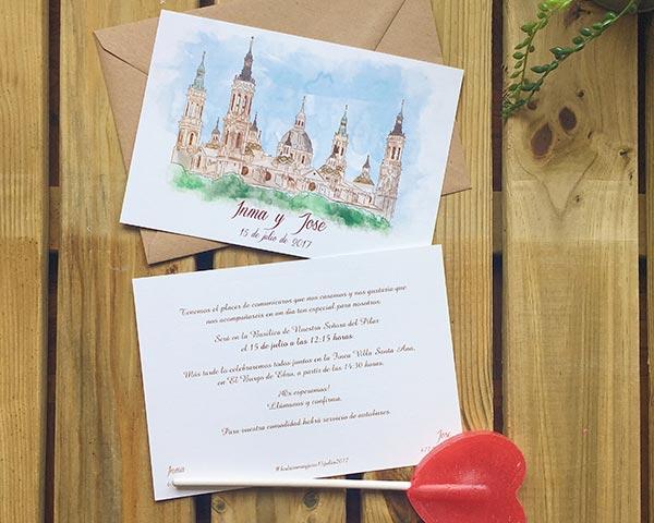 Invitaciones de boda con ilustración