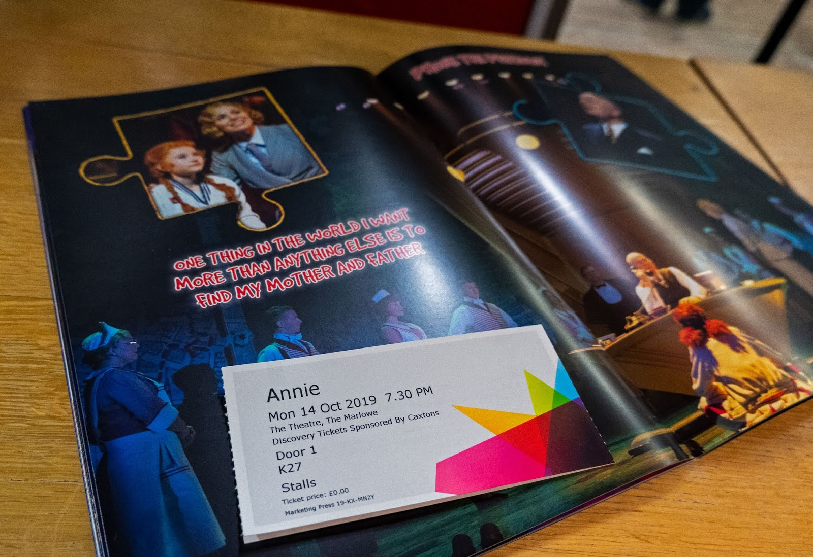 Annie the Musical programme and my ticket