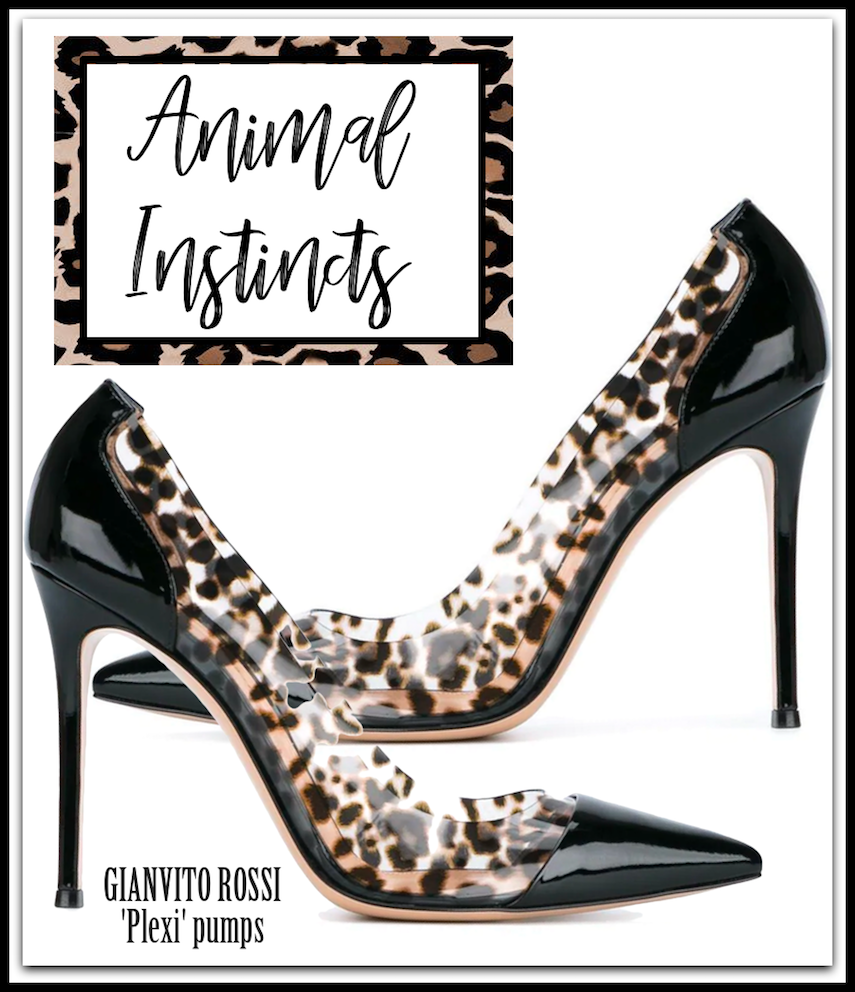 GIANVITO ROSSI 'Plexi' Patent & Leopard Pumps in Black/Leopard