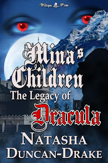 Silhouette of a woman in front of a Romanian castle and a mountain, with the moon and red eyes in the sky. Mina's Children: The Legacy of Dracula